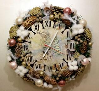 Новогодние часы своими руками – 10 пошаговых мастер классов