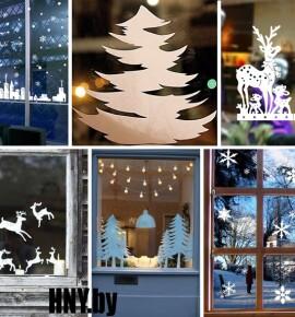 Новогодние вытынанки на окна: 350+ трафаретов на окна для вырезания к Новому году