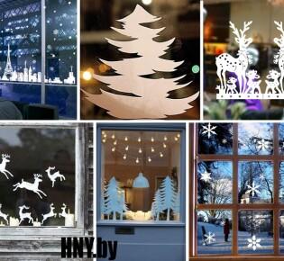 Новогодние вытынанки на окна. Трафареты на окна к Новому году