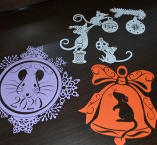 Крыса на Новый год из бумаги – вытынанки и трафареты на окна для вырезания