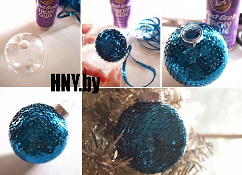 Елочный шарик с пайетками - как сделать