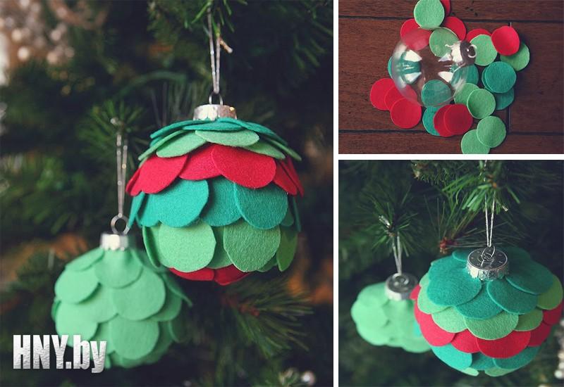 Новогодние шары с фетром своими руками: пошаговая инструкция