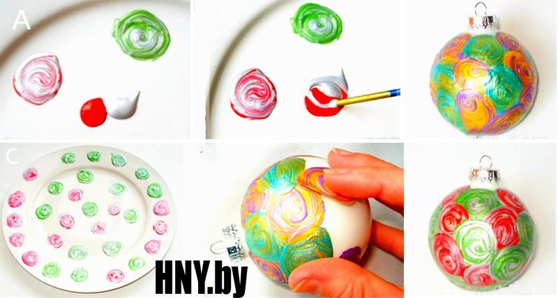 Елочные шары с витражными красками своими руками