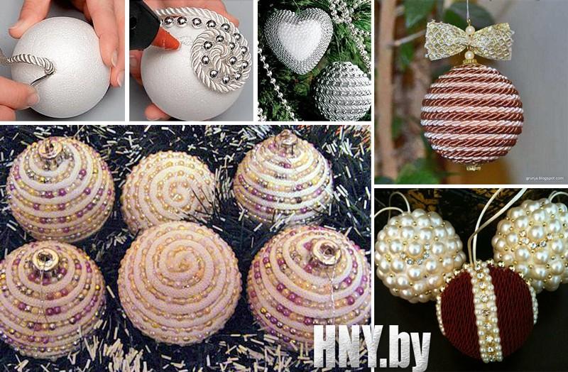Мастер класс: новогодние шары своими руками из декоративного шнурка и бусин
