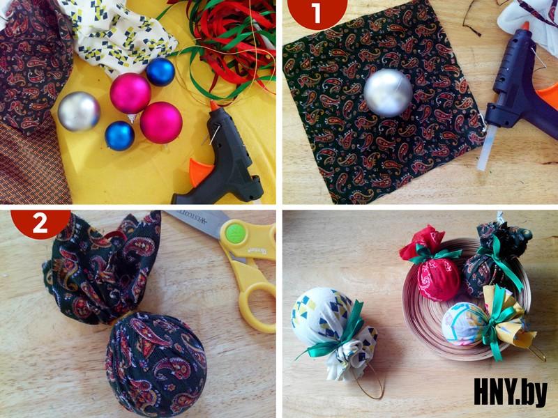 Декор новогоднего шара тканью или бумагой своими руками: мастер класс