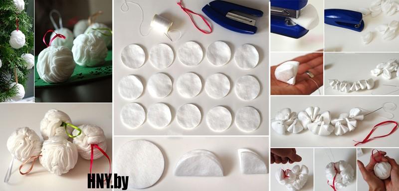 Новогодний шарик из ватных дисков - как сделать своими руками