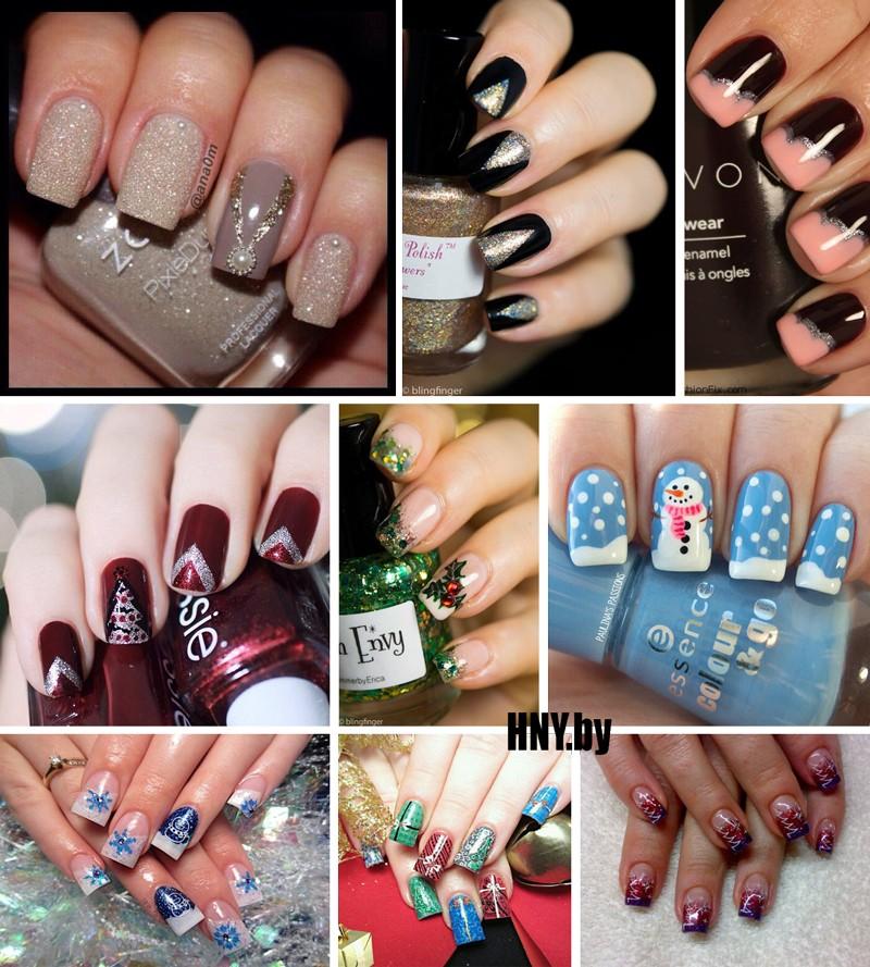 Идеи новогоднего маникюра на длинные ногти. Фото