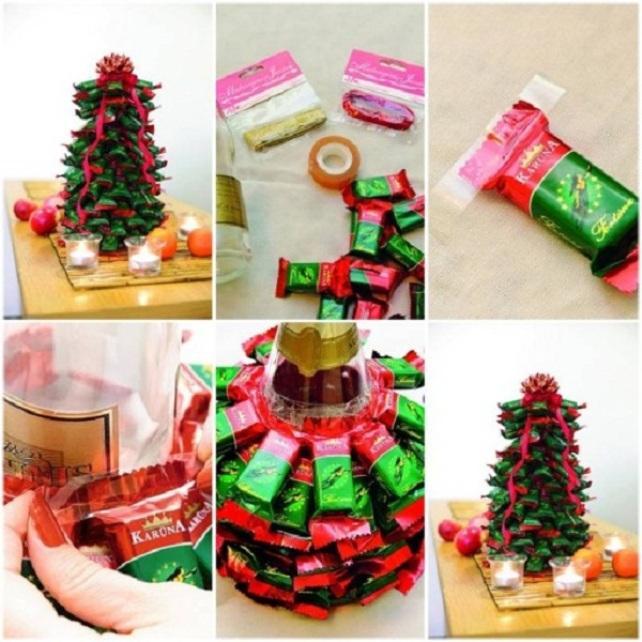 Новогодняя елка из конфет и бутылки шампанского
