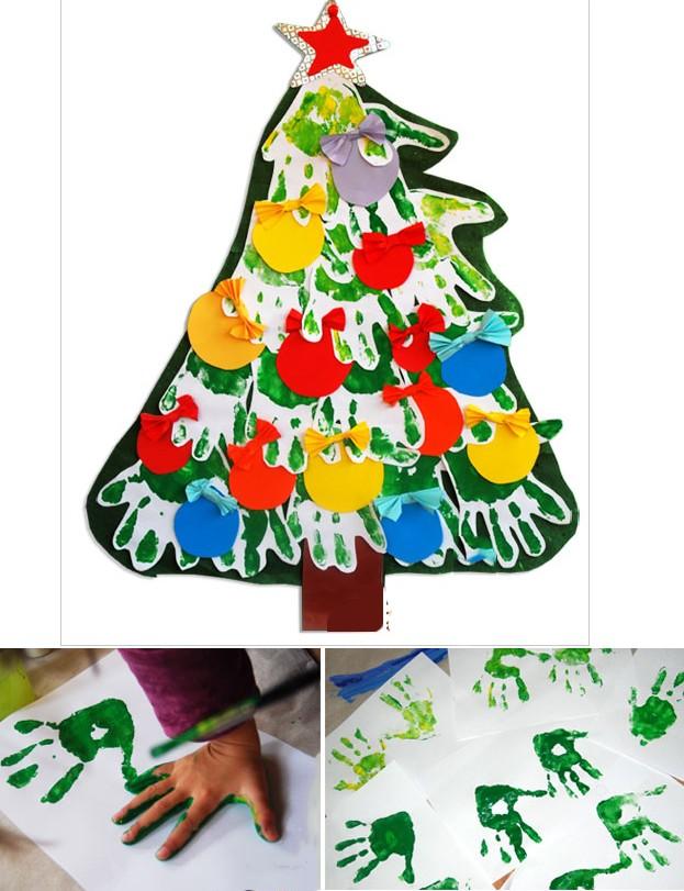 Делаем новогоднюю елку из бумаги с малышами