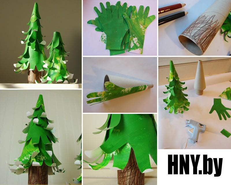 Новогодняя елка из зеленых рук: готовимся к новому году с детьми