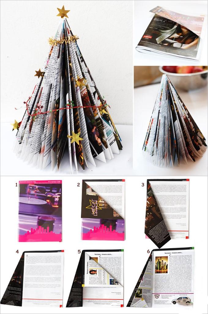 Новогодняя елка из старого журнала: декор на новый год своими руками