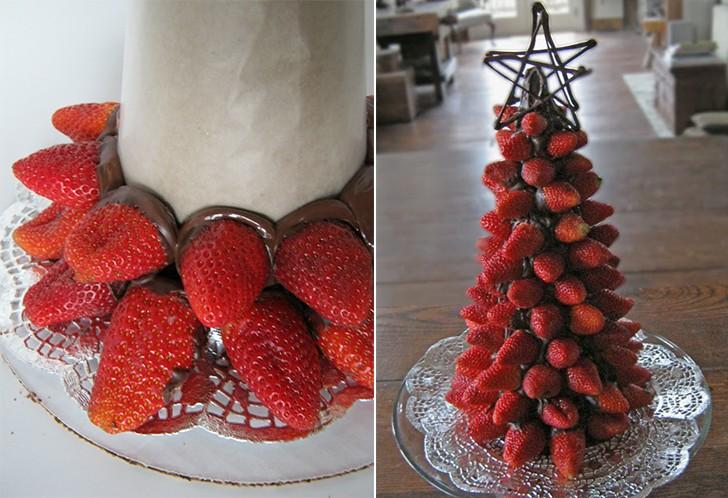 Вкусная новогодняя елка из клубники: украшаем стол к новому году