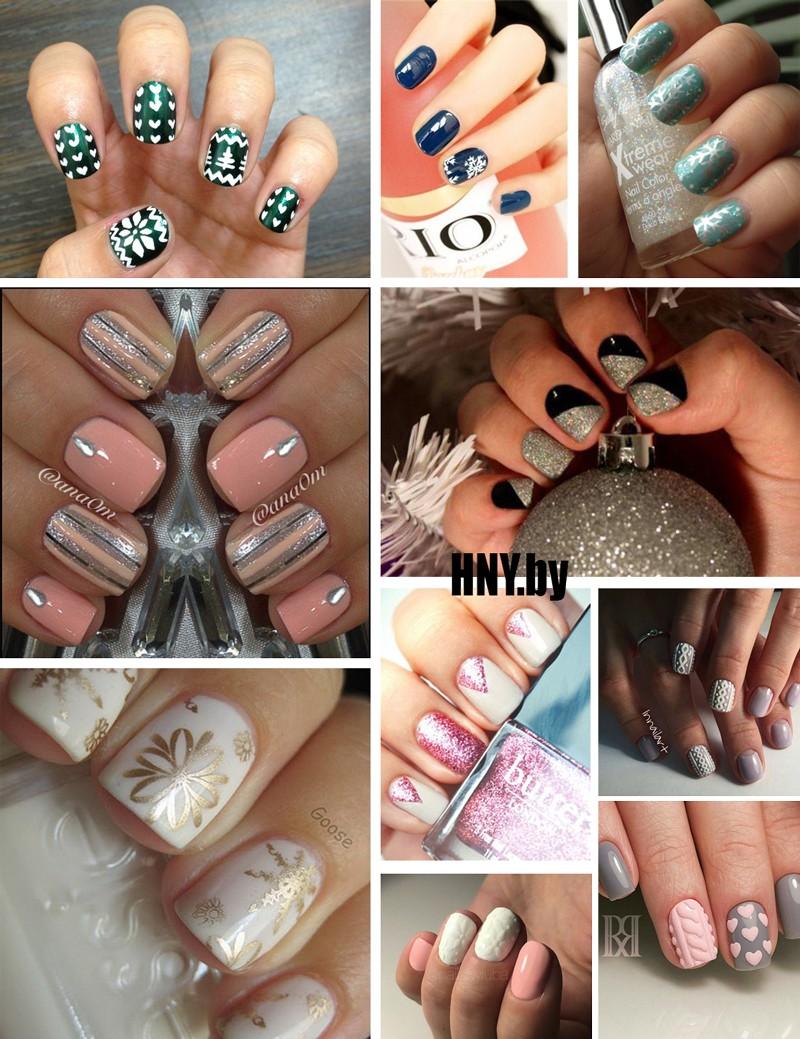 Идеи новогоднего маникюра на короткие ногти. Фото