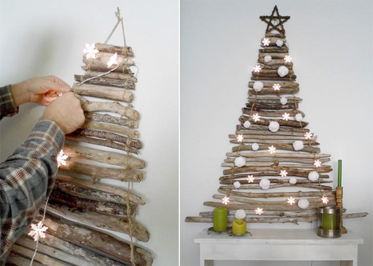 Новогодняя елка из сухих веток: делаем елку своими руками