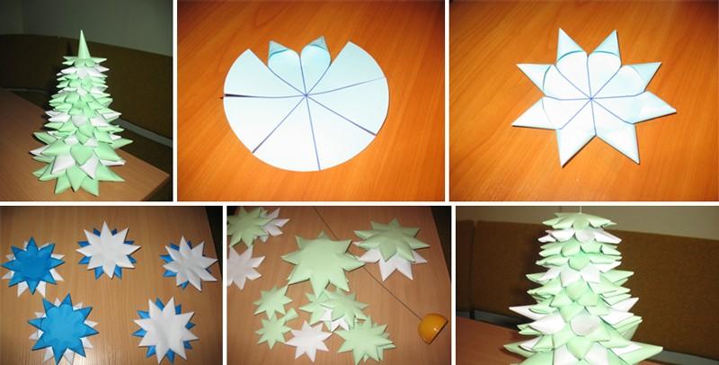 Объемная елка из бумаги своими руками