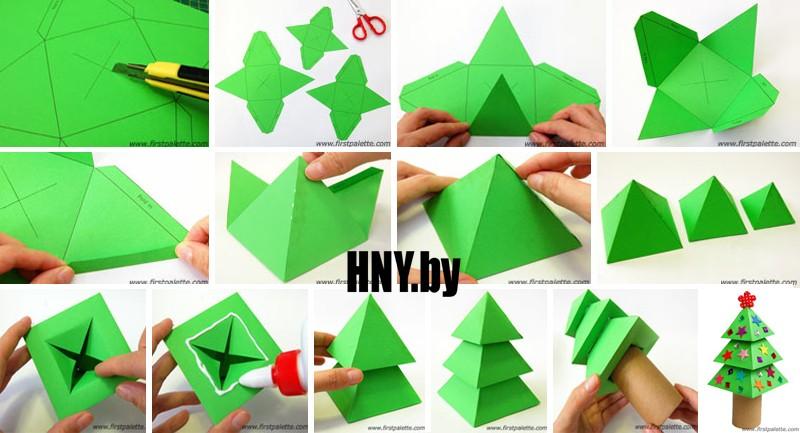 Новогодняя елка из бумажных пирамидок схема