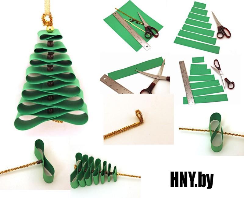 Новогодняя елка из бумажных полосок: пошаговая инструкция