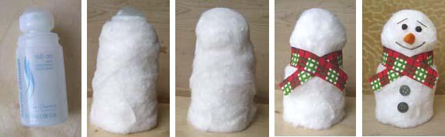Снеговик из ваты своими руками пошаговое фото