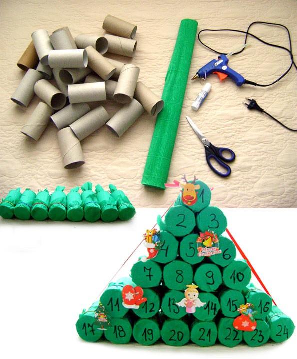 Новогодняя елка из картонных цилиндров от туалетной бумаги: делаем елку из подручных материалов