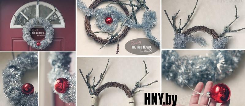 Рождественский венок-олень из новогодней мишуры: пошаговый мастер класс