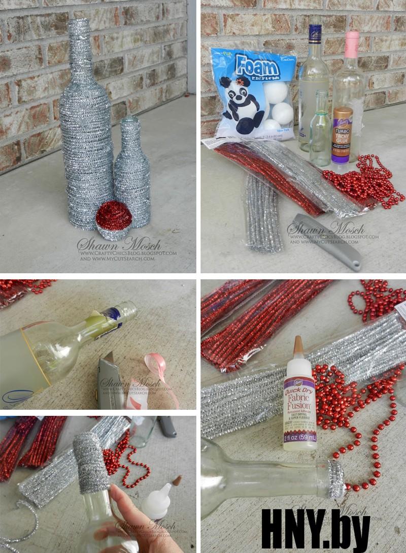 Новогодняя бутылка, декорированная мишурой. Мастер класс по изготовлению