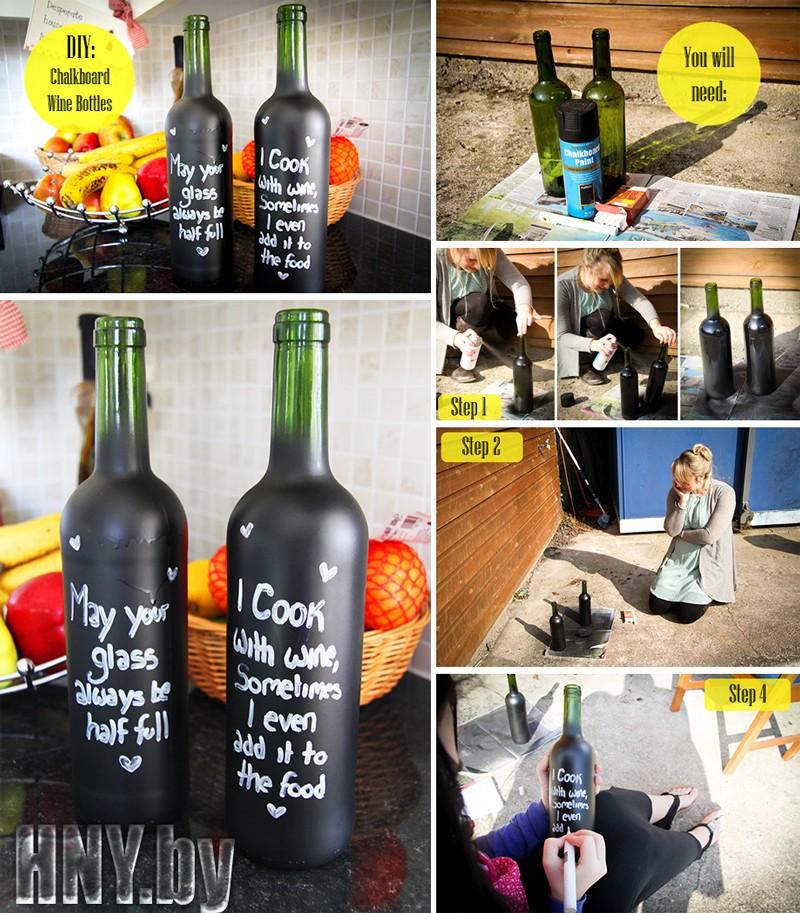 Новогодняя бутылка своими руками с тематическими надписями