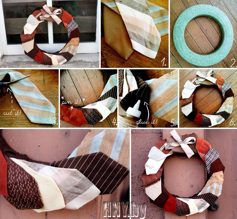 Венок из галстуков, поделки на Новый год из подручных материалов