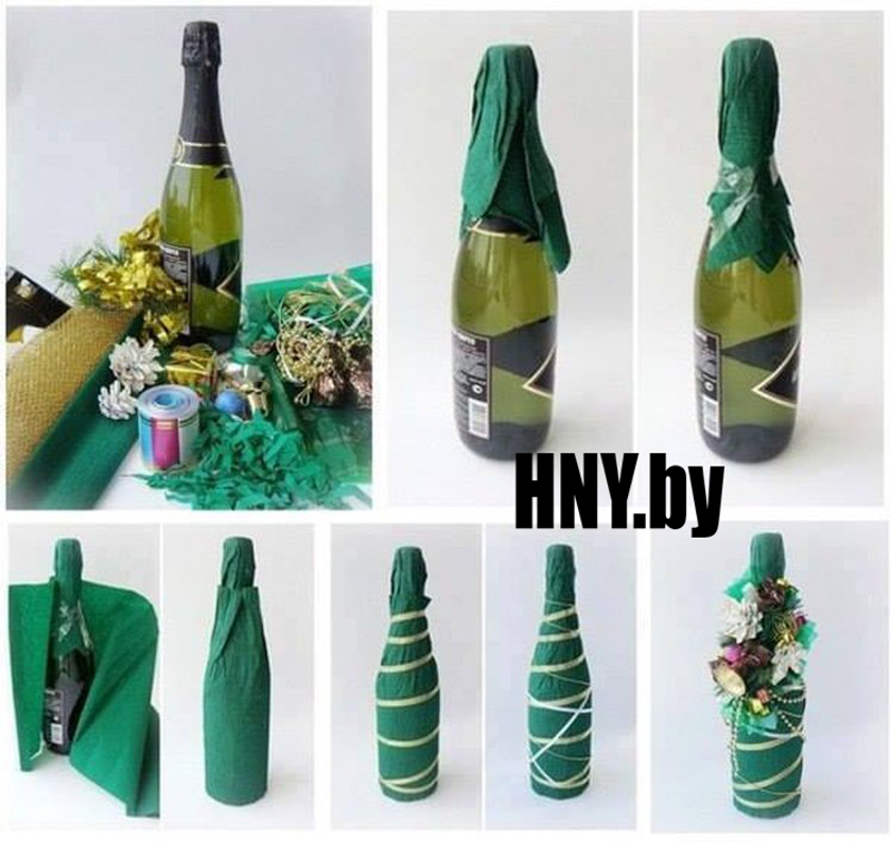 Новогодняя бутылка шампанского, обернутая в упаковочную бумагу