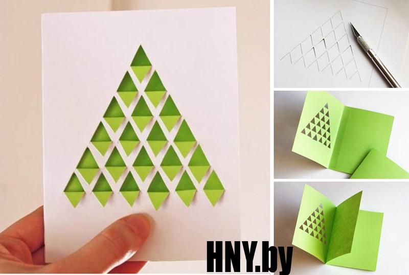 Геометрическая елка: пошаговый мастер класс по изготовлению новогодней открытки