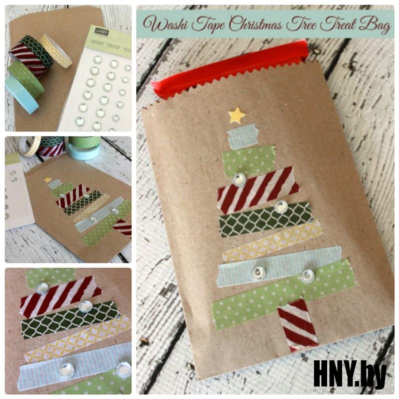 Упаковка новогодних подарков импровизированной елкой