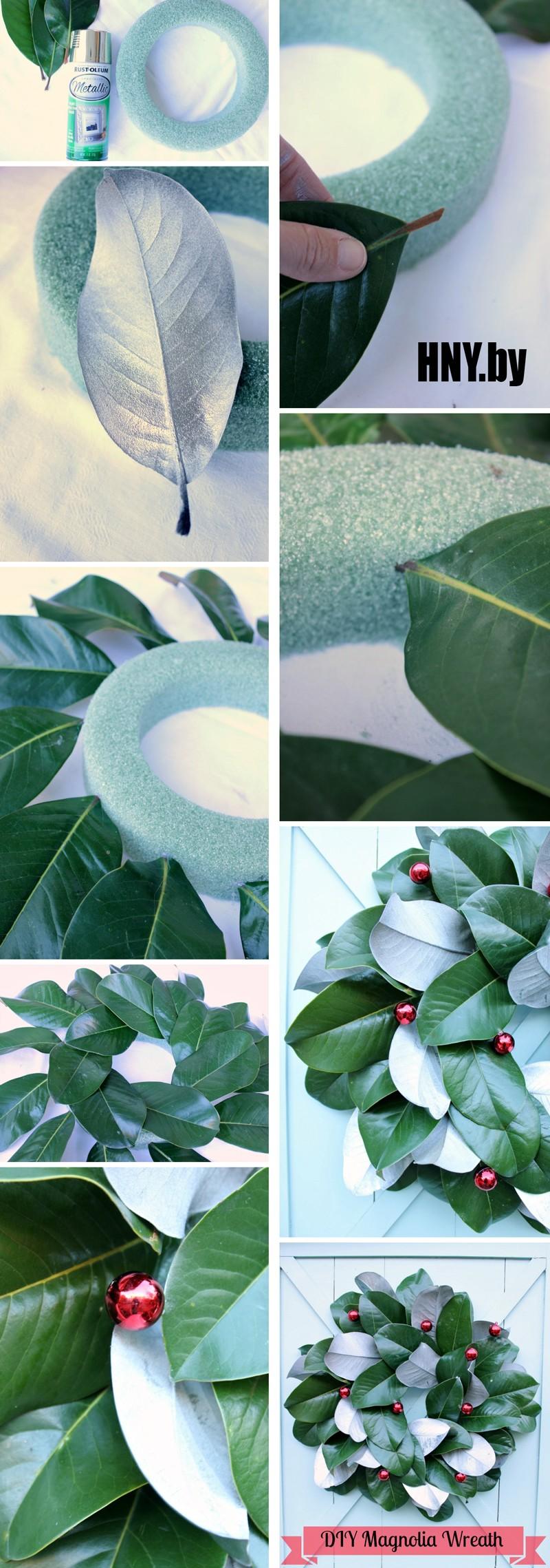 Новогодний венок из листьев магнолии – как сделать своими руками