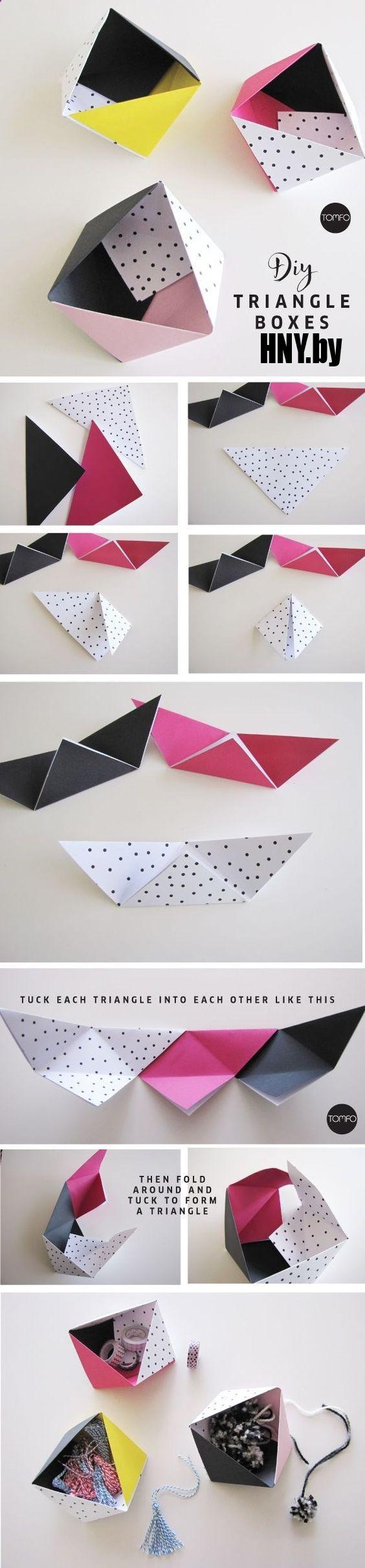 Коробочки-треугольники: упаковка новогодних товаров своими руками. Пошаговая инструкция