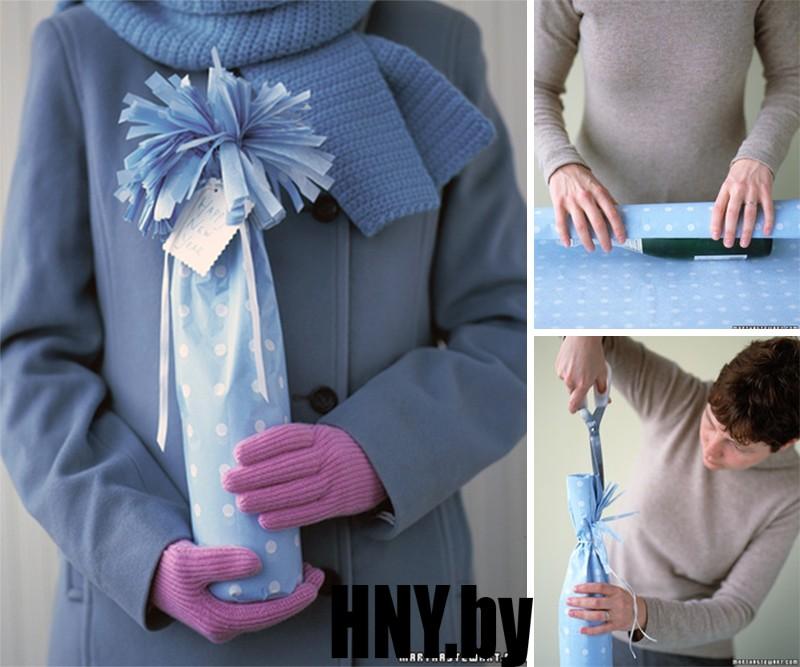 Бутылка на Новый год в подарок: мастер класс по декорированию бумагой