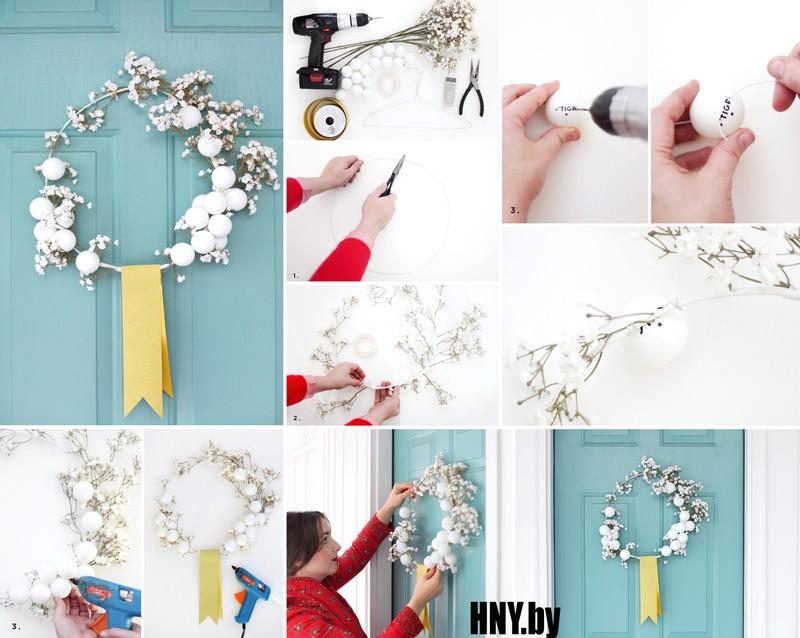 Новогодний венок из теннисных шариков: как сделать венок на дверь из подручных материалов своими руками. Мастер класс