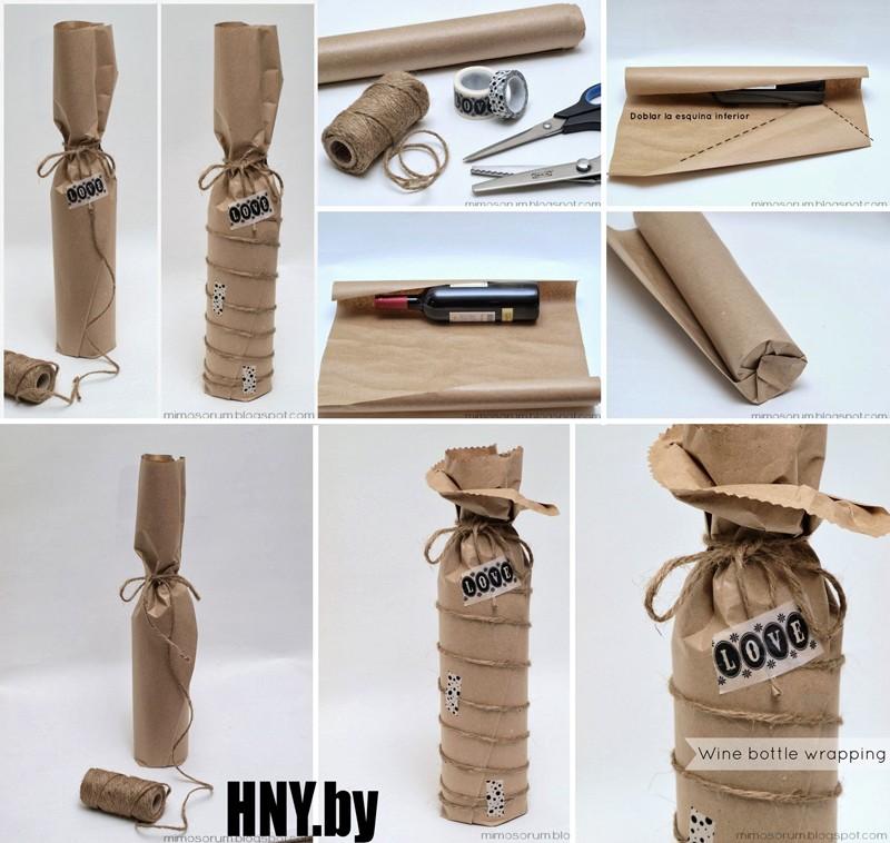 И еще один вариант декорирования новогодней бутылки обычной бумажной упаковкой