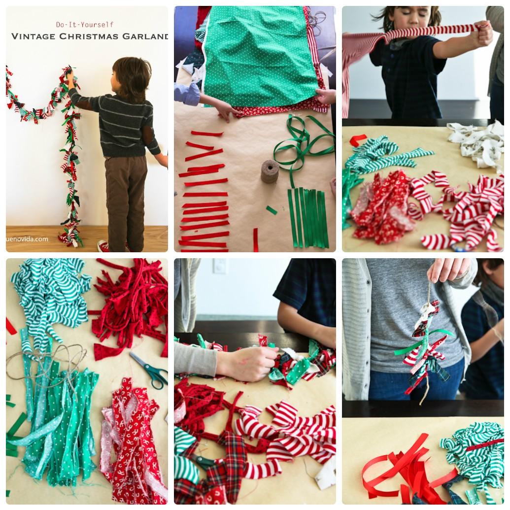 Новогодняя гирлянда из лоскутков: украшаем дом вместе с детьми