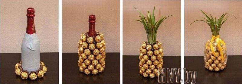 Новогодняя бутылка шампанского, декорированная конфетами. Пошаговый мастер класс