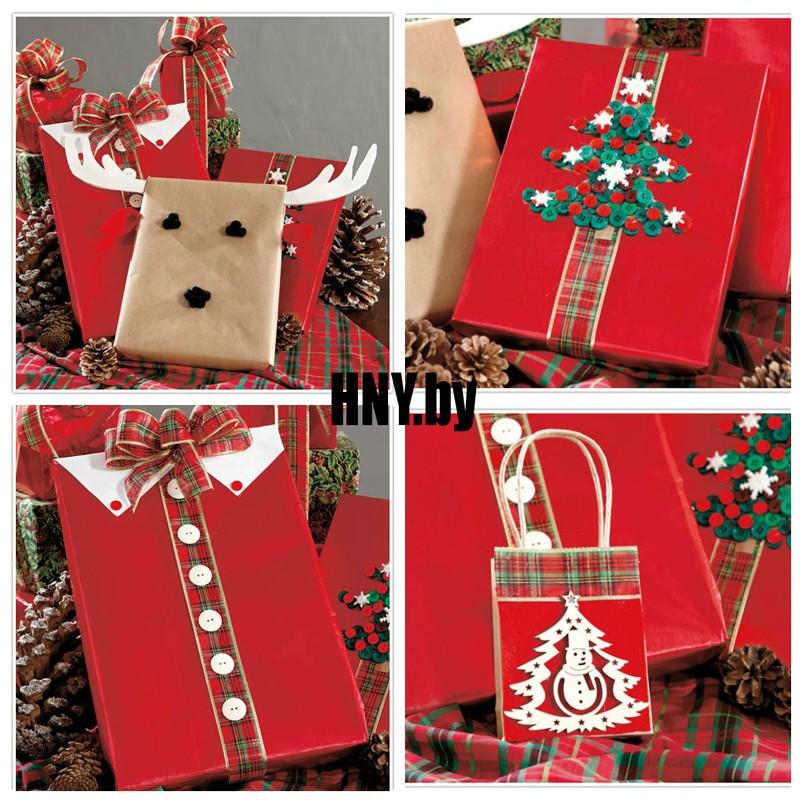 Декорируем подарочную упаковку пуговицами и новогодними элементами