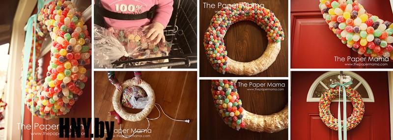 Новогодний венок из мармеладных конфет: продолжаем сладкую тему украшений к новому году. Мастер класс по изготовлению