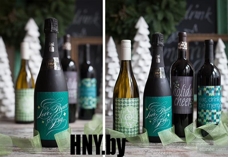 Новогодняя бутылка, декорированная тематическими наклейками