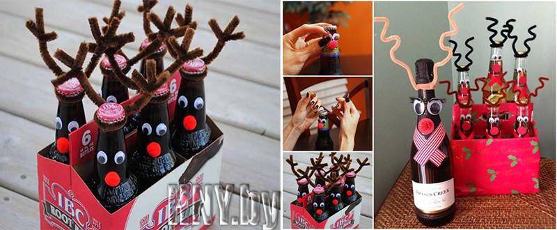 Новогодние бутылки своими руками: импровизированные олени