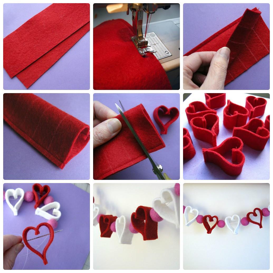 Новогодняя гирлянда из фетра в форме сердечек: елочная гирлянда своими руками