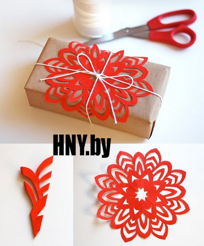 Декорируем новогодний подарок бумажной снежинкой
