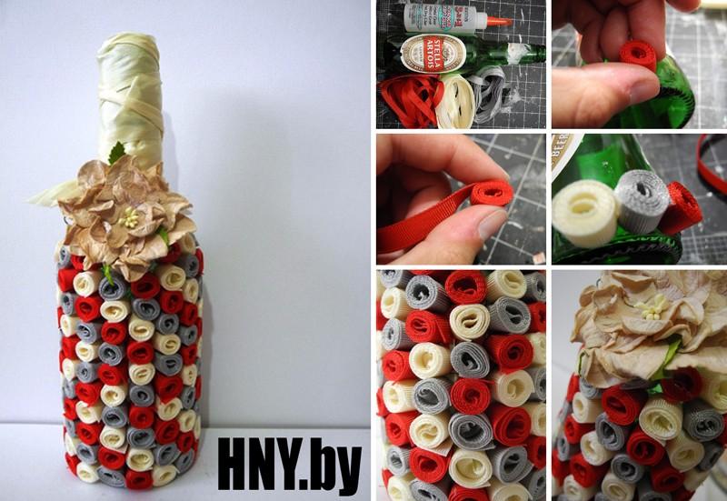 Новогодняя бутылка, декорированная лентами: делаем подарок своими руками. Мастер класс