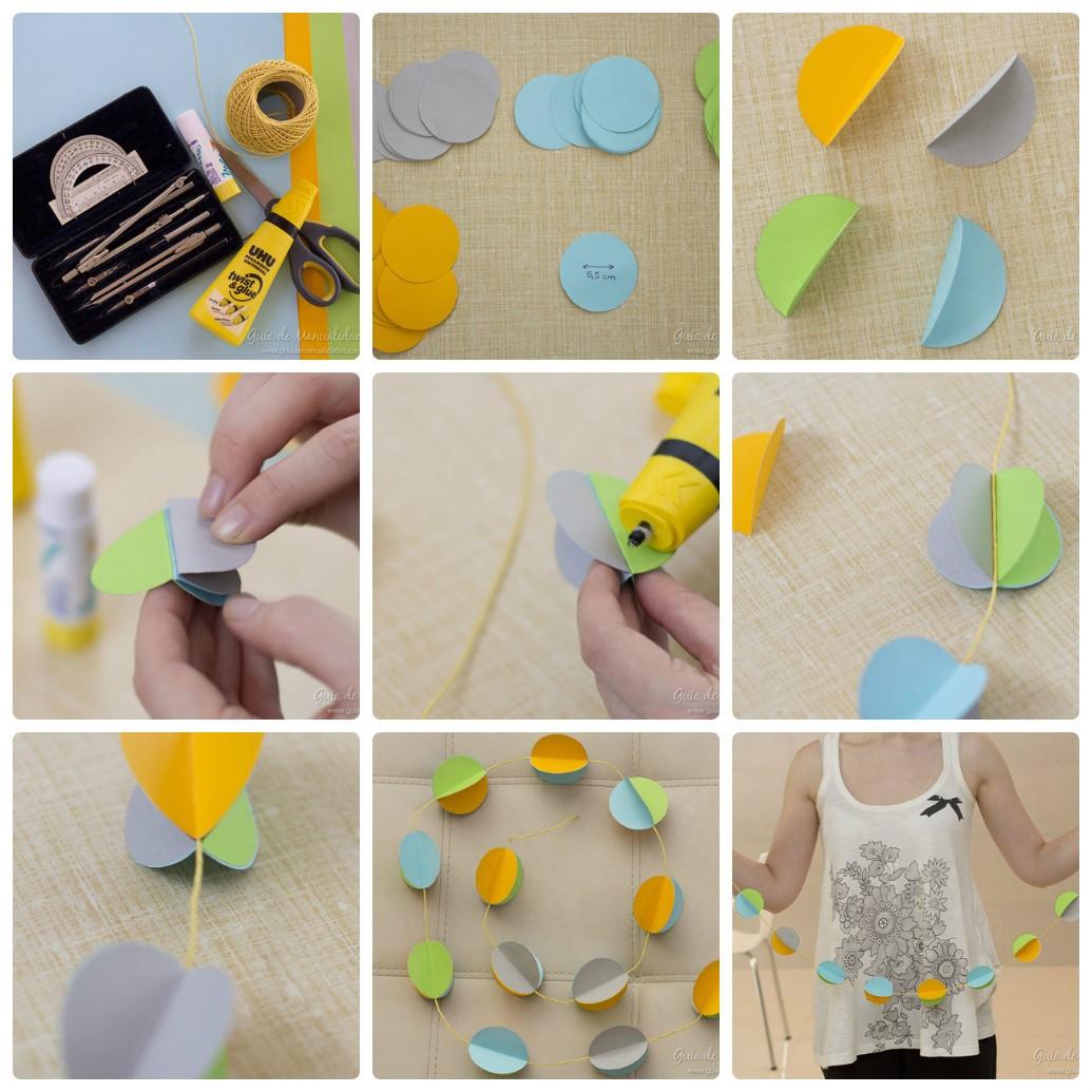 Новогодняя гирлянда из объемных бумажных шаров: шаблон и фото инструкция