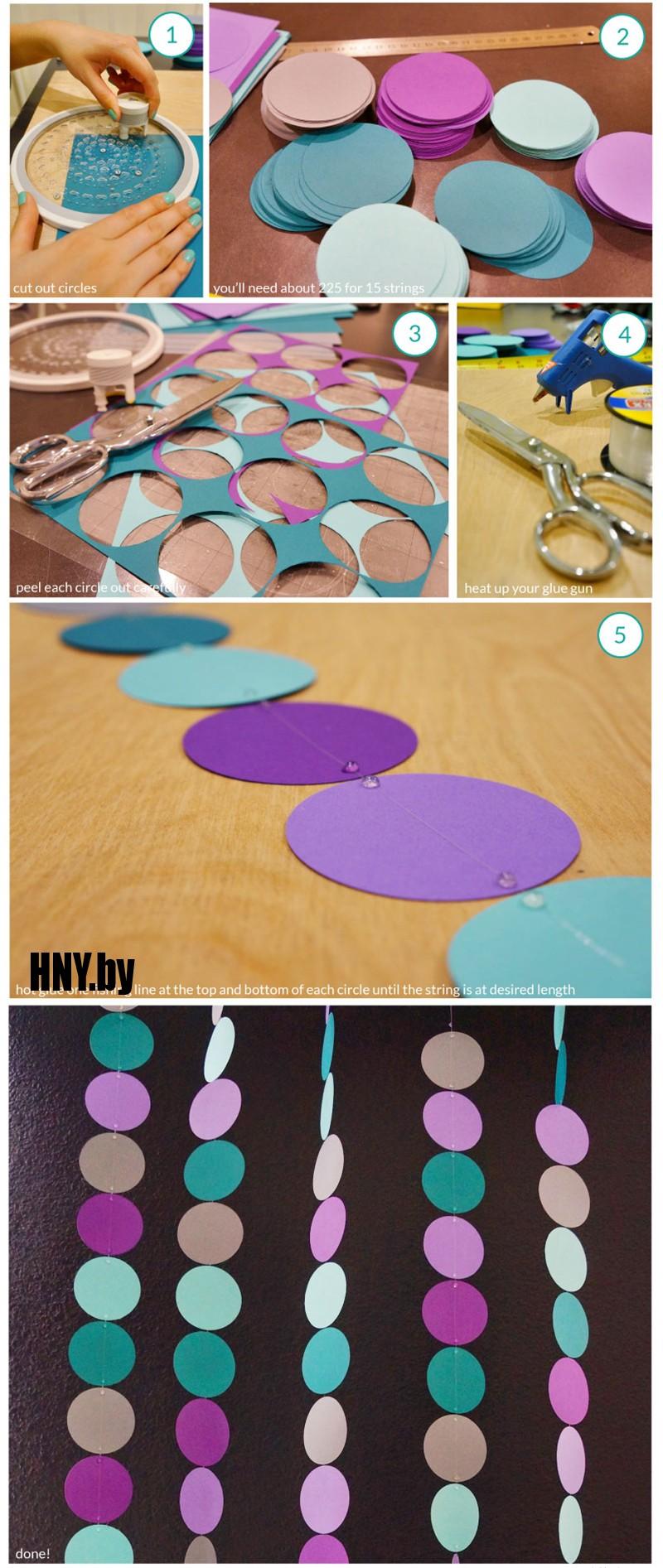 Гирлянда на новый год из бумажных кружков: декорируем интерьер просто и со вкусом