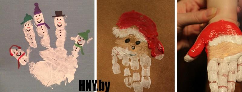 Делаем новогоднюю открытку с детьми: открытка с отпечатком пальцев