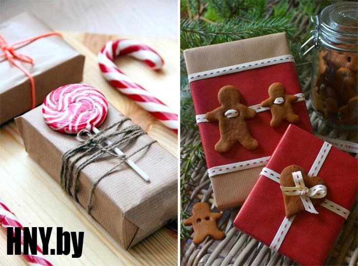 Сладкая упаковка новогодних подарков: леденцы и печенье