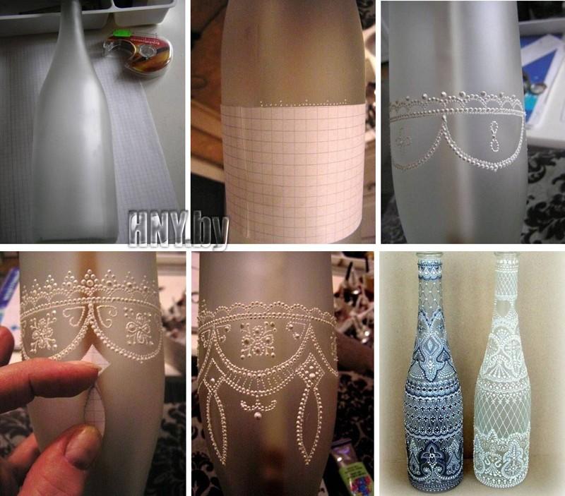 Декорируем новогоднюю бутылку витражными красками
