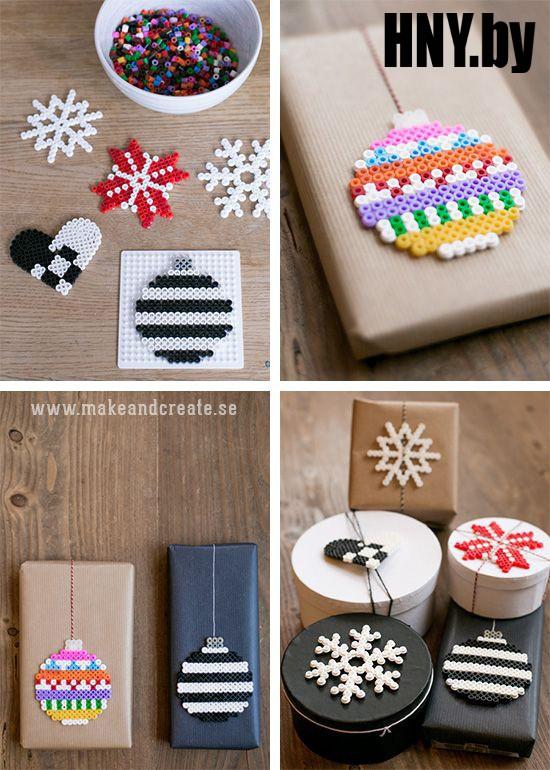 Упаковка новогодних подарков, декорированная бусинами